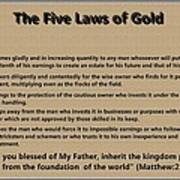 5 Laws Of Gold Poster by Ricky Jarnagin