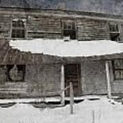 Snowy Abandoned Homestead Porch Poster