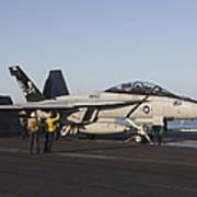 An Fa-18f Super Hornet During Flight Poster