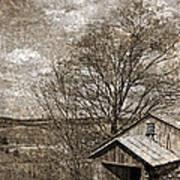 Rustic Hillside Barn Poster