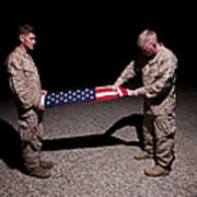 U.s. Marines Fold The American Flag Poster
