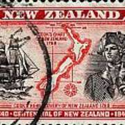 old New Zealand postage stamp Poster