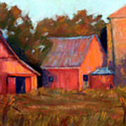 A Barn At Sunset Poster by Cheryl Whitehall