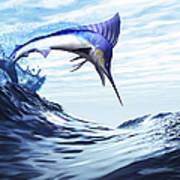 A Beautiful Blue Marlin Bursts Poster