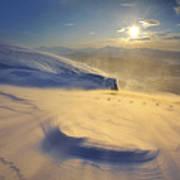 A Blizzard On Toviktinden Mountain Poster