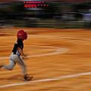 A Boy Runs During A Baseball Game Poster by Raul Touzon