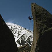 A Climber Rappels Off Grandma Boulder Poster