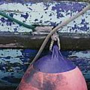 A Colorful Buoy Hangs From Ropes Poster