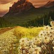 A Country Road With A Mountain In The Poster