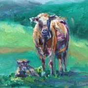 A Cow And Her Calf Poster