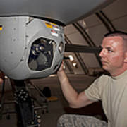 A Crew Chief Works On Mq-1 Predators Poster