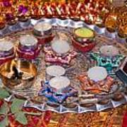 A Decorated Hindu Prayer Thaali With Wax Candles Oil Lamps Poster