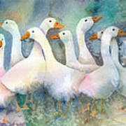 A Disorderly Group Of Geese Poster