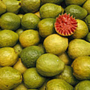 A Display Of Guavas In An Open Air Poster