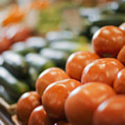 A Farm Stand Display Of Fresh Produce Tomatoes And Cucumbers Poster