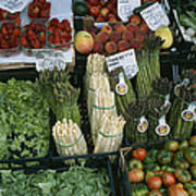 A Farmers Market Selling Vegetables Poster