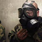 A Field Radio Operator Clears Cs Gas Poster