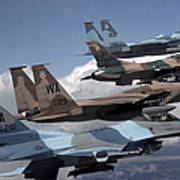 A Flight Of Aggressor F-15 And F-16 Poster