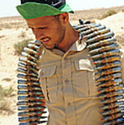 A Free Libyan Army Soldier With An Poster