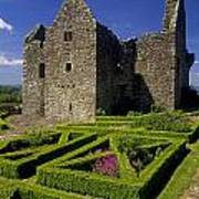 A Garden In Front Of Tully Castle Near Poster