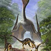 A Group Of Balaur Bondoc Dinosaurs Poster