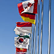 A Line Of Flags Represent The Countries Poster