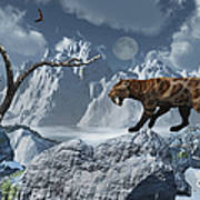 A Lone Sabre-toothed Tiger In A Cold Poster by Mark Stevenson
