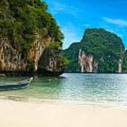 A Long Tail Boat By The Beach In Thailand  Poster