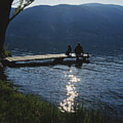 A Man And His Dog On A Lake Skaha Dock Poster