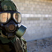 A Marine Wearing A Gas Mask Poster