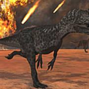 A Pair Of Allosaurus Dinosaurs Running Poster