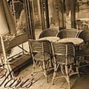 A Parisian Sidewalk Cafe In Sepia Poster