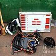 A Peak Into The Dugout During A Baseball Game Poster