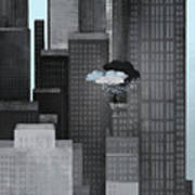 A Person On A Skyscraper Under A Storm Cloud Getting Rained On Poster