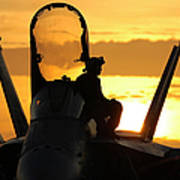 A Plane Captain Enjoys A Sunset Poster