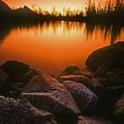 A Pond At Sunset, British Columbia Poster
