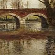 A River Landscape With A Bridge  Poster