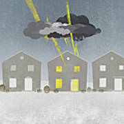 A Row Of Houses With A Storm Cloud Over One House Poster
