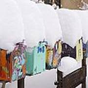 A Row Of Mailboxes In Winter Poster by Ralph Lee Hopkins