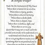 A Simple Prayer By Saint Francis Poster