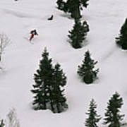 A Skier Makes His Way Down A Hill Poster