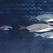 A Small Fish Chasing Three Sharks Poster by Jutta Kuss