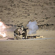 A Soldier Fires A Rocket-propelled Poster