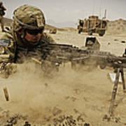 A Soldier Firing His Mk-48 Machine Gun Poster