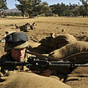 A Soldier Mans His Position At Fort Poster
