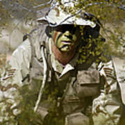 A Soldier Practices Evasion Maneuvers Poster