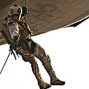 A Soldier Rappels From An Mh-60s Poster