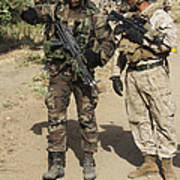A Spanish Marine Points Out An Poster