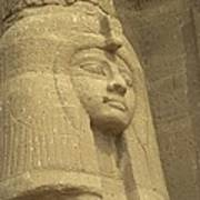 A Statue Of Nefertari At The Entrance Poster by Richard Nowitz
