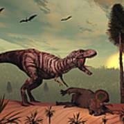 A Triceratops Falls Victim Poster